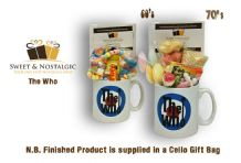 The Who Mug with a MOD selection of 60's  or 70's retro sweets